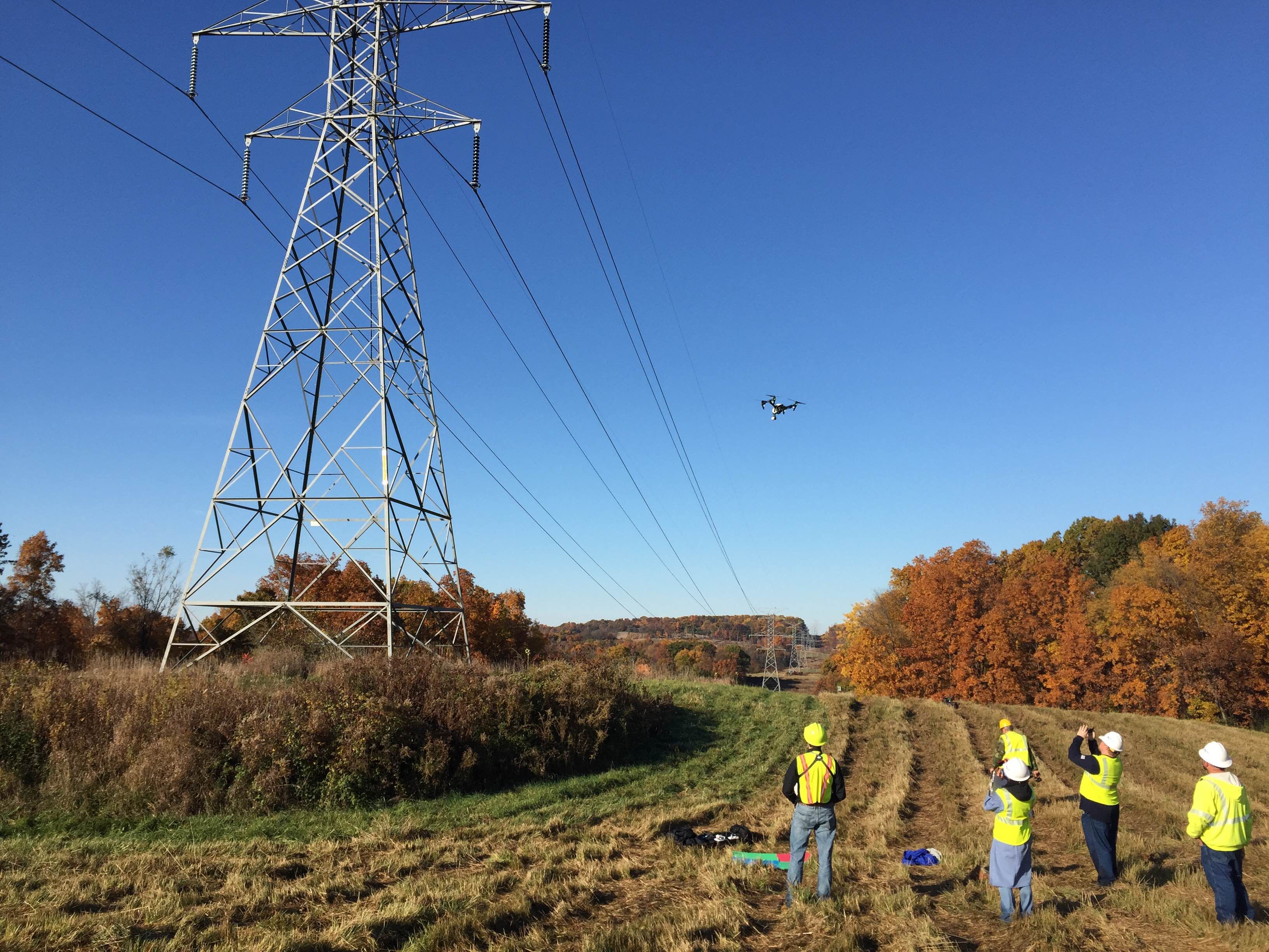 Pylon and corona inspection using drones